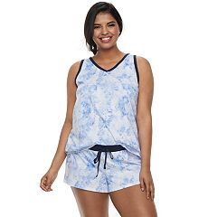 Plus Size SO® Contrasting Tank & Shorts Pajama Set