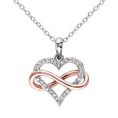 Stella Grace Two Tone Sterling Silver Diamond Accent Infinity Heart Pendant Necklace