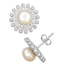 Sterling Silver Freshwater Cultured Pearl & Cubic Zirconia Starburst Earrings