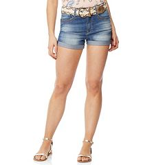 Juniors' Wallflower Cuffed Jean Shorts