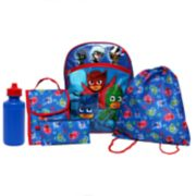 Kids PJ Masks Backpack, Lunch Tote, Cinch Bag, Gadget Case & Water Bottle Set