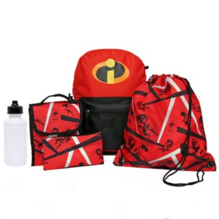 Disney / Pixar's The Incredibles Kids Backpack, Lunch Tote, Cinch Bag, Gadget Case & Water Bottle Set