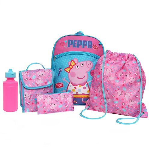 Kids Peppa Pig Backpack, Lunch Tote, Cinch Bag, Gadget Case & Water Bottle Set