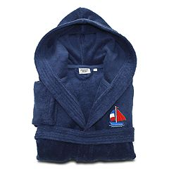 Linum Home Textiles Kids Boat Turkish Cotton Hooded Terry Bathrobe