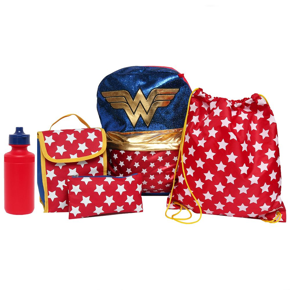 9c80e552de Kids DC Comics Wonder Woman Backpack, Lunch Tote, Cinch Bag ...