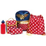 Kids DC Comics Wonder Woman Backpack, Lunch Tote, Cinch Bag, Gadget Case & Water Bottle Set