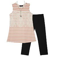 Girls 7-16 IZ Amy Byer Striped Tank Top & Legging Set with Necklace