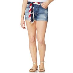 Juniors' Wallflower American Flag Belted High-Waisted Jean Shortie Shorts