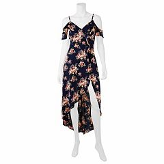 Juniors' IZ Byer Floral Cold-Shoulder Maxi Romper