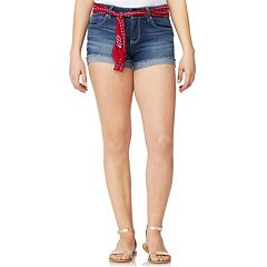 Juniors' Wallflower Legendary Bandanna Belted Mid-Rise Jean Shortie Shorts