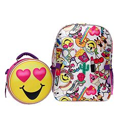 Kids Emoji Backpack & Lunch Tote Set