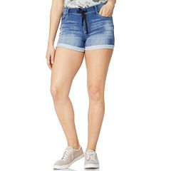 Juniors' Wallflower High-Waisted Pull-On Denim Shorts