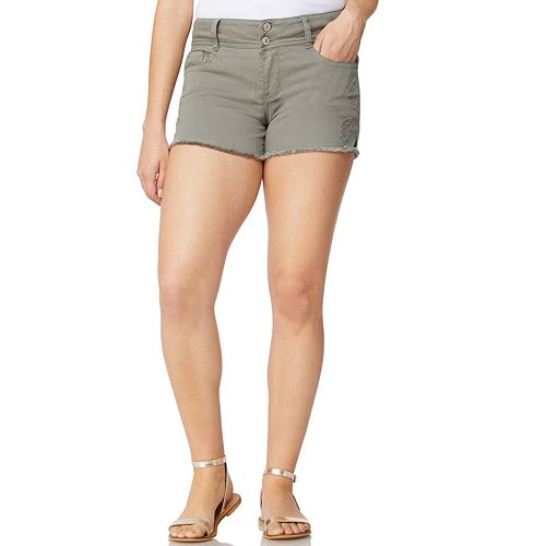 Juniors' WallFlower Curvy Ripped Jean Shorts