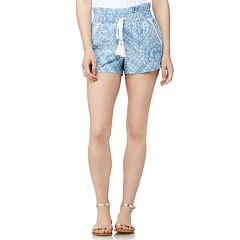 Juniors' WallFlower High-Waisted Printed Paper Bag Shorts