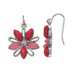 Pink Flower Nickel Free Drop Earrings