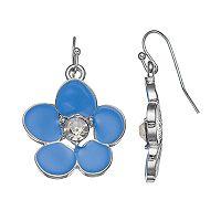 Blue Flower Nickel Free Drop Earrings