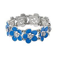 Enamel & Rhinestone Flower Stretch Bracelet