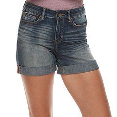 Juniors' Indigo Rein Roll-Cuff Midrise Jean Shorts