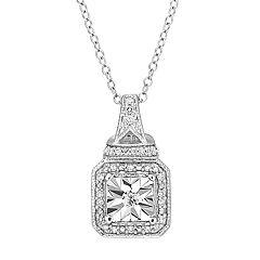 Stella Grace Sterling Silver 1/7 Carat T.W. Diamond Square Pendant Necklace