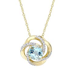 Stella Grace Gold Tone Sterling Silver Blue & White Topaz Swirl Pendant Necklace