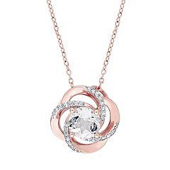 Stella Grace Rose Gold Tone Sterling Silver White Topaz Swirl Pendant Necklace
