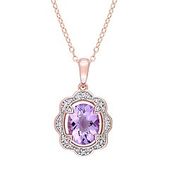 Stella Grace Rose Gold Tone Sterling Silver Amethyst & 1/10 Carat T.W. Diamond Pendant Necklace