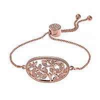 Brilliance Rose Gold Tone Vine Filigree Adjustable Bracelet with Swarovski Crystals