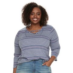 Plus Size SONOMA Goods for Life™ Lace-Up Tee