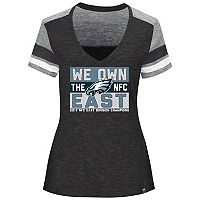 Women's Majestic Philadelphia Eagles 2017 NFC East Division Champions Line of Scrimmage Tee