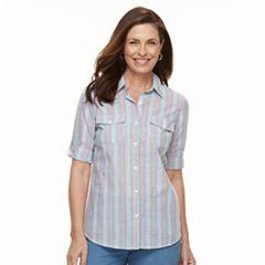 Women's Croft & Barrow® Roll-Tab Woven Shirt