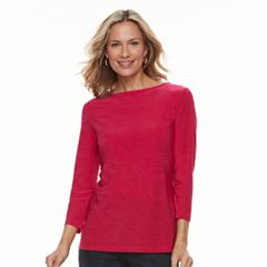 Women's Croft & Barrow® Jacquard Boatneck Tee