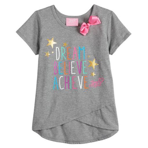 "Girls 4-14 Jacques Moret JoJo Siwa ""Dream Believe Achieve"" Asymmetrical Graphic Tee"