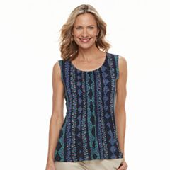 Women's Croft & Barrow® Pleated Scoopneck Tank