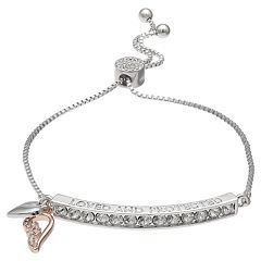 Brillilance 'Loved and Protected' Adjustable Bracelet with Swarovski Crystals