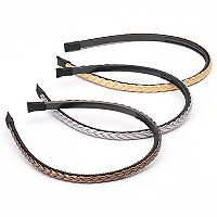 Braided Faux Leather Headband Set