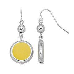 Yellow Disc Nickel Free Drop Earrings