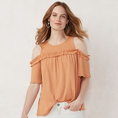 ce2adcc03dded Women's LC Lauren Conrad Ruffle Cold-Shoulder Top