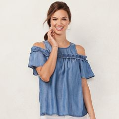 Women's LC Lauren Conrad Rufflle Cold-Shoulder Top