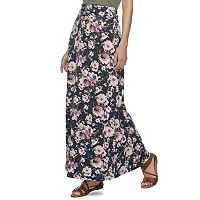 Juniors' Joe B Cinched Waist Floral Maxi Skirt