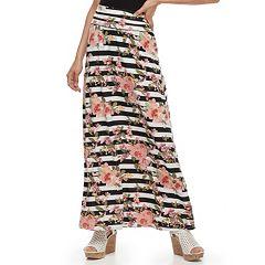 Juniors' Joe B Striped Floral Maxi Skirt