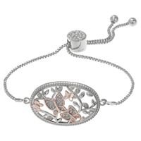 Brilliance Two Tone Butterfly Adjustable Bracelet with Swarovski Crystals