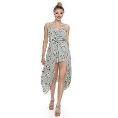 Juniors' Three Pink Hearts Floral Walk-Through Maxi Dress