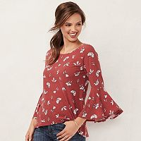 Women's LC Lauren Conrad Bell Sleeve Split-Back Top