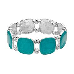 Aqua Epoxy Link Stretch Bracelet