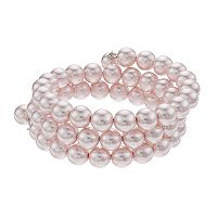 Simulated Pearl Coil Bracelet