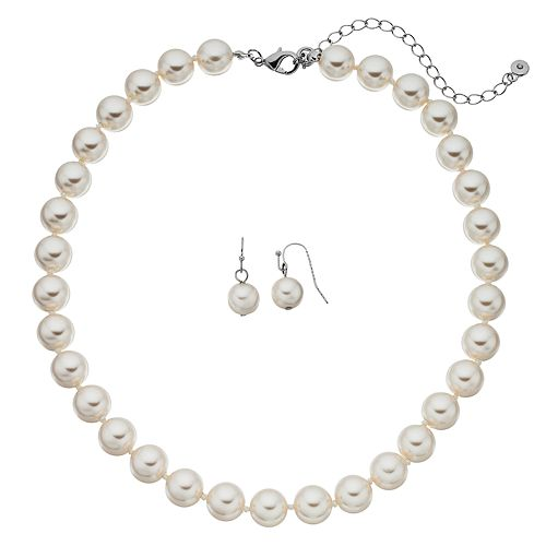 Croft & Barrow Simulated Pearl Necklace & Drop Earring Set