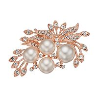 Simulated Pearl & Crystal Cluster Leaf Pin