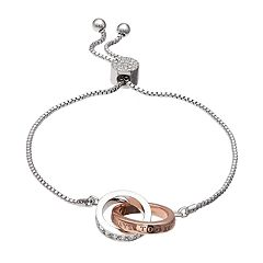 Brilliance 'Always Together' Two Tone Adjustable Bracelet with Swarovski Crystals
