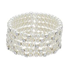 Simulated Pearl Multi Row Cuff Bracelet