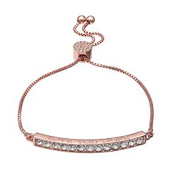 Brilliance Rose Gold Tone 'Love You More' Adjustable Bracelet with Swarovski Crystals